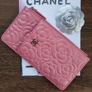 Chanel Caviar Camellia Embossed Pouch